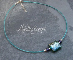 """Necklet - Silvered Teal Square Nugget • <a style=""""font-size:0.8em;"""" href=""""https://www.flickr.com/photos/37516896@N05/6830058554/"""" target=""""_blank"""">View on Flickr</a>"""
