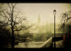 Fog decends on Handbridge.. (jetbluestone) Tags: morning church fog view roman chester walls handbridge
