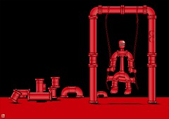 Swinging Red Pipe Man (Norbert Cieslik -  sometimes here...) Tags: red pipes pipe rohr rohre pipeman rohrmann