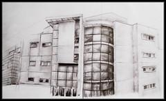 Swansea MET (Alex Patel's Portfolio) Tags: uk swansea wales pencil buildings university britain great modernism met sketches graphite