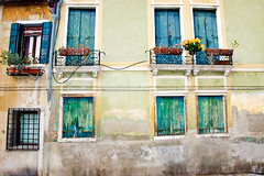 Venetian windows (RachaelMc) Tags: travel blue venice windows house abstract building green tourism italian italia different venise venezia venedig travelphotography rachaelmc rjmcdiarmid
