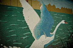 Rotherhithe Swan (gidsey_) Tags: uk england london geotagged swan mosaic tiles southlondon rotherhithe se16 southeastlondon x100
