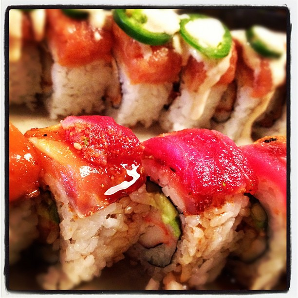 Triple Tango Roll (front) & Unforgettable Roll (back) #food #sushi