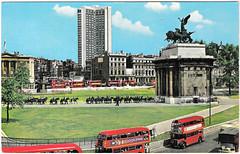 London - Hyde Park Corner Prior to 1969 (pepandtim) Tags: park old bus london monument buses corner john hotel early arch postcard roundabout nostalgia hyde photograph wellington nostalgic routemaster quadriga sixties hinde hilto 67hpc45