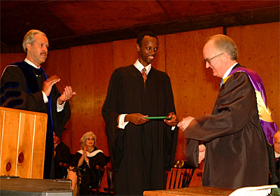 Joseph Sebarenzi, Former Parlimentary Speaker From the Republic of Rwanda, Receives an Honorary Degree from President Paul LeBlanc and Chairman of the Board of Trustees Ted Wendell