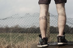 (RK Productions) Tags: portrait black tattoo self canon 50mm grey major nikon brothers dick text 14 leg band company easy script division calf airborne tough hang winters 101st t3i regiment 506th