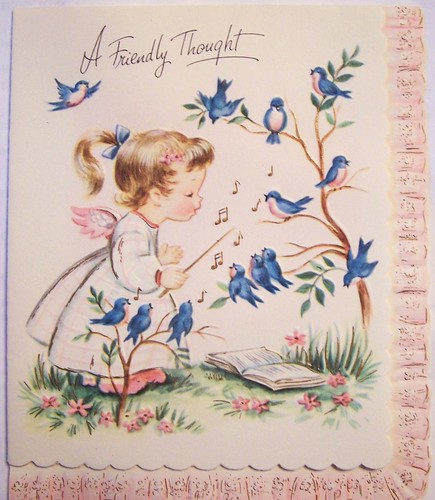 A Friendly Thought-Vintage Greeting Card