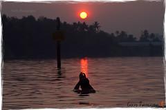 sun salutation (Gulfu) Tags: bridge sun india man water yoga train sunrise canon culture kerala 7d 70200 f4 shilloutte surya sunsalutation aluva manapuram centerd namaskaram gulfu gulfuphotography prasanthgulfu beautifulsunrisephoto