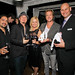 Hector Maldonado, Jimmy Stafford and Scott Underwood of Train with Lori Green and Ronald du Preez of Jordan Winery - Jordan Vineyard & Winery's 40th Anniversary, held on The London Hotel rooftop in West Hollywood, California, USA on Monday, April 23, 2012