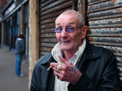 Billy (csh 22) Tags: portrait 50mm expression glasgow streetportrait smoker eastend hardtimes gallowgate nikond90 glasgowcharacter glasgowstreetportrait