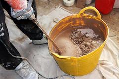 Man mixing plaster (**Anik Messier**) Tags: uk greatbritain england diy construction plaster tools harlow walls renovation essex ceilings plastering skimming plasterer mixingplaster