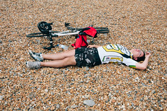 Sleepy cyclist #4 (lomokev) Tags: sleeping portrait england man male beach bike sport canon private person eos brighton cyclist unitedkingdom stones sleep human 5d exhausted londontobrighton sleeeping canoneos5d shotonhscourse londontobrighton2012 file:name=120617eos5d9065