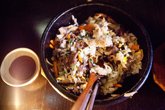 Bulgoki Dolsot Bibim Bap, mixed served with Gochujang (thewanderingeater) Tags: nyc dinner manhattan tribeca kori koreancuisine korirestaurant