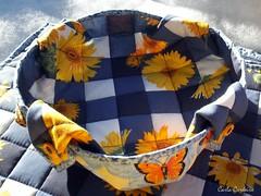 Girassol e Borboletas (Carla Cordeiro) Tags: placemat botão patchwork cozinha girassol xadrez cestinha jogoamericano cantomitrado