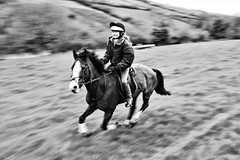 Pony Power (rmrayner) Tags: blackandwhite horse motion rural countryside panning rider canter ponny charityride april2013 ashcombefunride2013