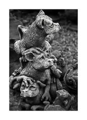 "Two's Company, Three's A Crowd  (A.K.A. ""Hillary, Donald, & Bernie) (sorrellbruce) Tags: bw sculpture texture gardens nikon funny humorous gardening d750 form softlight gardensculpture lr6 photoninja framefun silverefexpro nikond750"