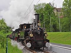 Triple-header passing Chateau de Blonay (TrainsandTravel) Tags: schweiz switzerland suisse narrowgauge blonay steamtrains blonaychamby schmalspurbahn voieetroite trainsàvapeur dampfzüge