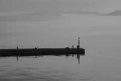 Early morning at the pier (Thomas Mulchi) Tags: people bw earlymorning greece attica 2016 rafina aegeansea