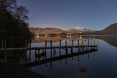 Time To Reflect (RattyBoots) Tags: uk snow water reflections jetty lakedistrict nightshoot cumbria derwentwater startrail canon5d3 canon1635f4 march2016
