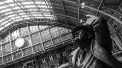 Clock watching (bananacake1000) Tags: uk travel urban blackandwhite london station statue architecture samsung stpancras urbanlandscape phonephotography flickrtravelaward