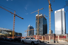Crane Counting (Kurayba) Tags: ca new city urban canada building tower hotel construction downtown edmonton place bell pentax crane full cranes arena alberta frame rogers 20 mode ff f28 counting municipal k1 oilers stantec epcor pentaxa smcpa20mmf28