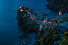 Dusk Falls on Vernazza (Harry2010) Tags: ocean italy mountains beach night wow boats rocks village harbour dusk cinqueterre vernazza