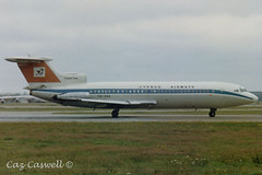 5B-DAA  Trident 2E  Cyprus Airways (caz.caswell) Tags: heathrow lap hounslow airliner lhr trident dehavilland trijet londonheathrow turbojet hawkersiddley londonairport ttail rearengines hs121 3xrollsroycespey 5bdaa cyprusaiways