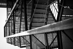Fire escape with Dutch angle (Hans Dethmers) Tags: blackandwhite monochrome stairs essen zwartwit fireescape zollverein zollvereinessen hansdethmers