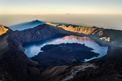 In the shadow of the father, in the the view of the uncle (Jannik Peters) Tags: volcano landscape son father uncle sunrise summit baby mt gunung baru rinjani agung indonesia crater rim lake mountaineering