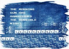 The morning sun has vanquished the horrible night (O9k) Tags: analog screenshot videogame analogue cyanotype alternate selfdeveloped homedeveloping simonsquest akumajo castlevania2 themorningsunhasvanquishedthehorriblenight