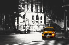 Ambassador (Chiradeep.) Tags: city blackandwhite india car lowlight ambassador kolkata calcutta selectivecolour westbengal citynight