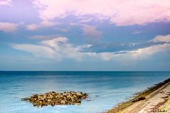 Simply beautiful (diabolomint) Tags: blue sea sky mer rose clouds island rocks berge rochers rive
