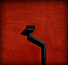 ISOLATED (thomas.michael.) Tags: california shadow red urban abstract texture wall applebees shadows artistic pipe minimal abstraction sacramento minimalism isolated natomas flickrchallengegroup flickrchallengewinner gillaspy