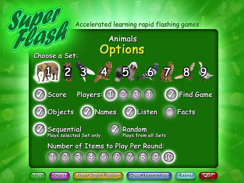 Superflash Animals - options page