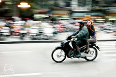 Scooter Couple Hanoi Vietnam (sachman75) Tags: people woman man bike lady couple traffic transport scooter vietnam motorbike transportation hanoi panning hoankiem sigma50mmf14 canon5dmarkii
