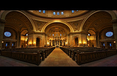 cathedral of saint paul - st. paul, minnesota (Dan Anderson (dead camera, RIP)) Tags: panorama art church minnesota architecture shrine catholic cathedral interior pano stpaul minneapolis wideangle stainedglass panoramic symmetry inside twincities saintpaul alter mn romancatholic archdiocese cathedralofsaintpaul