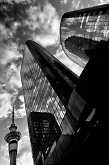 Glass Towers (Nick Twyford) Tags: sunset newzealand blackandwhite monochrome architecture clouds nikon auckland northisland skytower darbyst lee09nd