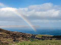 Rainbow in Hoyvk - Faroe Islands (Jkup) Tags: road blue sea green grass clouds landscape landscapes rainbow panasonic fjord isle faroeislands faroe froyar frerne hoyvk fz150 eystnes