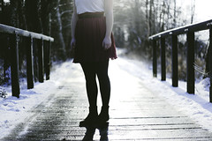 (Anne Mortensen) Tags: bridge portrait sun snow feet girl river denmark hands purple skirt mitchell joni annemortensen