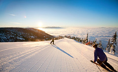 Whitefish, Montana by Noah Clayton (NatGeo*) Tags: morning travel winter vacation two people usa sun sunlight mountain holiday snow ski men sunshine horizontal sunrise landscape outdoors togetherness women scenery montana skiing view adult horizon young resort full adventure together snowboard males leisure years females whitefish length skier mid slope ethnicity youngsters caucasian groomer wintry adventurous 2529 3034