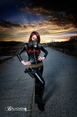 brutcherphotography (p.brutcher) Tags: mask apocalypse gas guns bullets redhair catsuit