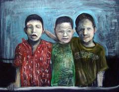 Autorretrato con primos (Carlos Luis Sanchez) Tags: amigos venezuela nios sancristobal contraste francisbacon infancia pintura paleta panas acrilico tachira nies figuracion solores neoexpresionismo pinceleda expresionesmo