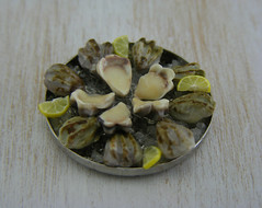 Fresh Oysters on Ice Bed (Shay Aaron) Tags: food fish dinner miniature handmade salmon crab prawns mini clam gourmet polymerclay fimo tiny deli seafood oysters appetizer mussel scallop crustacean 12th 112 luxury lux platter preparation dollhouse petit oneinchscale shayaaron scaleoneinch