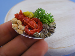 Boiled Maine Lobster (Shay Aaron) Tags: food fish dinner miniature handmade salmon crab prawns mini clam gourmet polymerclay fimo tiny deli seafood oysters appetizer mussel scallop crustacean 12th 112 luxury lux platter preparation dollhouse petit oneinchscale shayaaron scaleoneinch