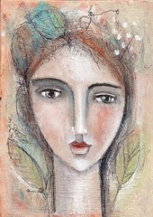 LADY WITH BOTANICAL (sold) (kitty jujube) Tags: mixed media portait small whimsical