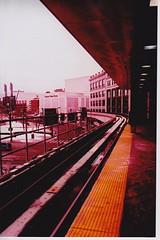 tracks. (spinninglights) Tags: color film church 35mm publictransportation detroit peoplemover fujifilm expired joelouisarena grossepoint