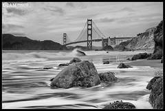 Broken (Aaron M Photo) Tags: sanfrancisco california ca longexposure bridge sunset blackandwhite bw white seascape black beach nature rock architecture landscape blackwhite sand nikon unitedstates pacific bridges marshall pacificocean coastal goldengatebridge ggb coastalphotography marshallbeach aaronmeyersphotography