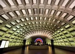 Underground (Karen_Chappell) Tags: city travel urban usa green architecture underground subway concrete dc washington arch metro wideangle washingtoondc