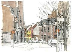 Liège, rue Fosse-aux-Raines (gerard michel) Tags: sketch belgium watercolour rue liège croquis