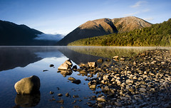 Early Morning Lake Rotoiti (DarrynSantich) Tags: newzealand mist lake nikon calm alpine nz southisland lakerotoiti freflection starnaud d700